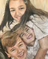 A commissioned painting of three children by Adelaide Artist Marieka Hambledon