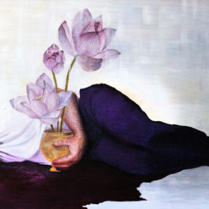 A portrait painting of Adelaide Domestic Violence Campaigner Arman Abrahimzadeh. The painting has Arman laying on the floor in a pool of blood, holding a gold vase of lotus flowers.